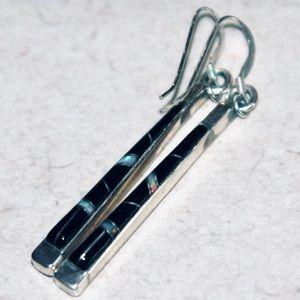 Vintage Zuni Onyx Opal Sterling Silver Earrings
